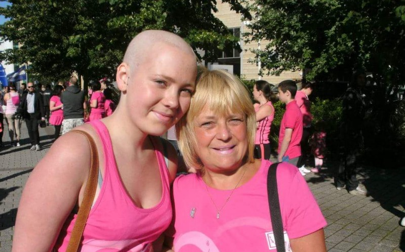 Danielle (L) during a race for life after going through chemotherapy