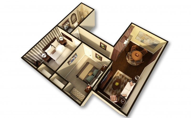 A 3D apartment floor plan of the facility