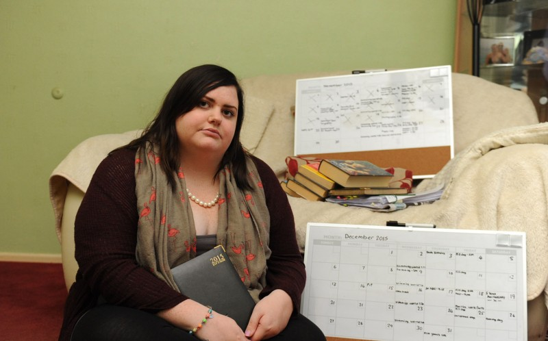 JENNY GRIEVE AT HOME IN BOURNEMOUTH, DORSET WITH DIARIES AND WHITE NOTICE BOARDS THAT SHE USES TO PLAN OUT HER APPOINTMENTS