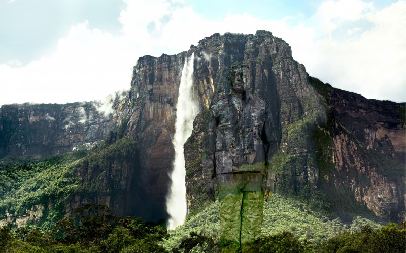Liu Bolin disappears into the backdrop of a majestic waterfall