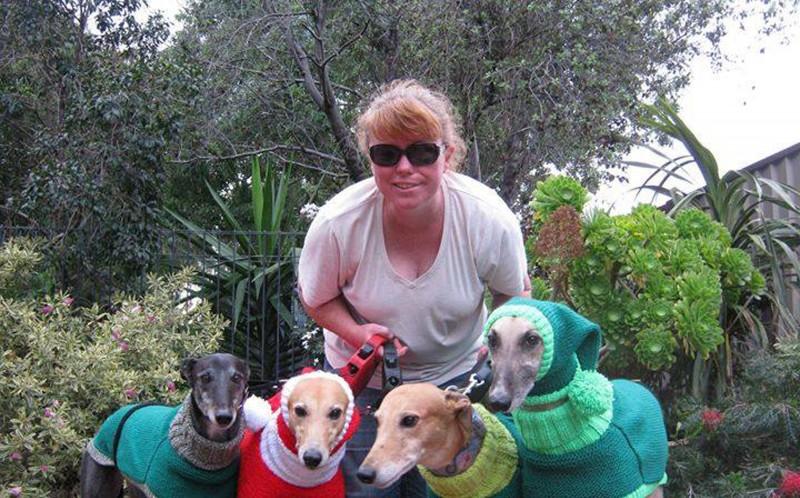 Australian customer Donna Matthews with her pets and jumpers
