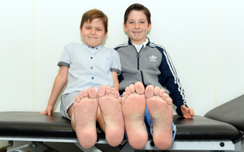 L-R Callum and Kian with the new prosthetics