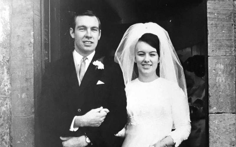 Groom Ian with his Bride first time of asking way back in December 1968