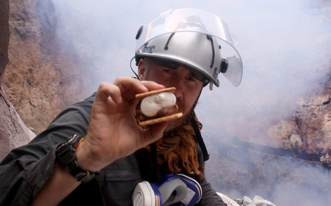 BRADLEY WITH THE SMORES COOKED BY THE VOLCANO