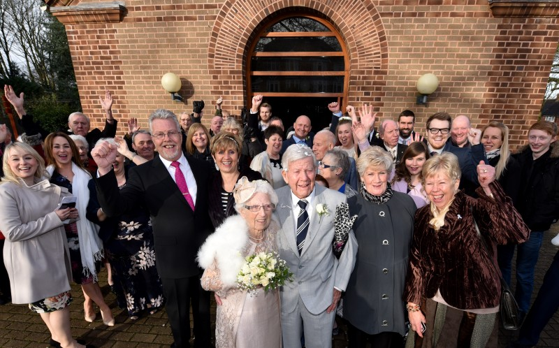 The wedding of ninety one year old Bill Griffiths and ninety six year old Florence Marshall
