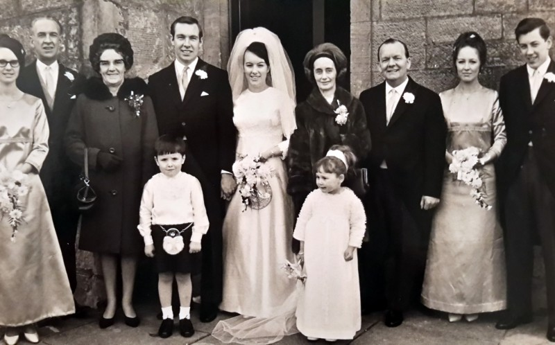 Ian and Roz with all their family after the first wedding back in 1968