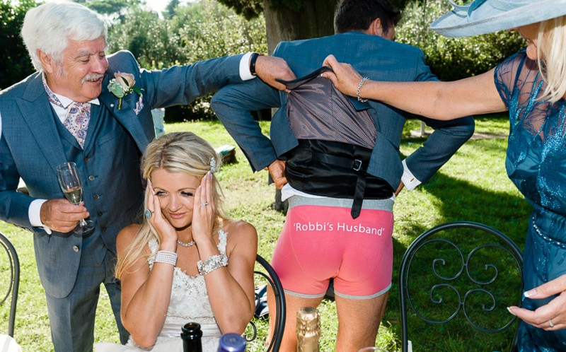 Husband wears underwear to show that he is now married to his wife
