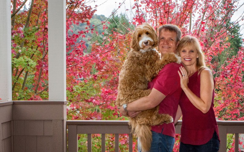 Reagan with his owners Sandi and Eric Swiridoff
