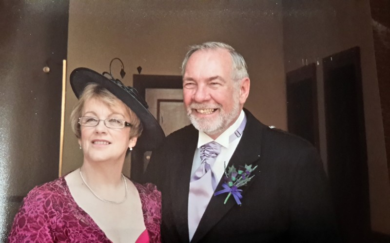 Roz and Ian at sons Stewarts wedding two years ago