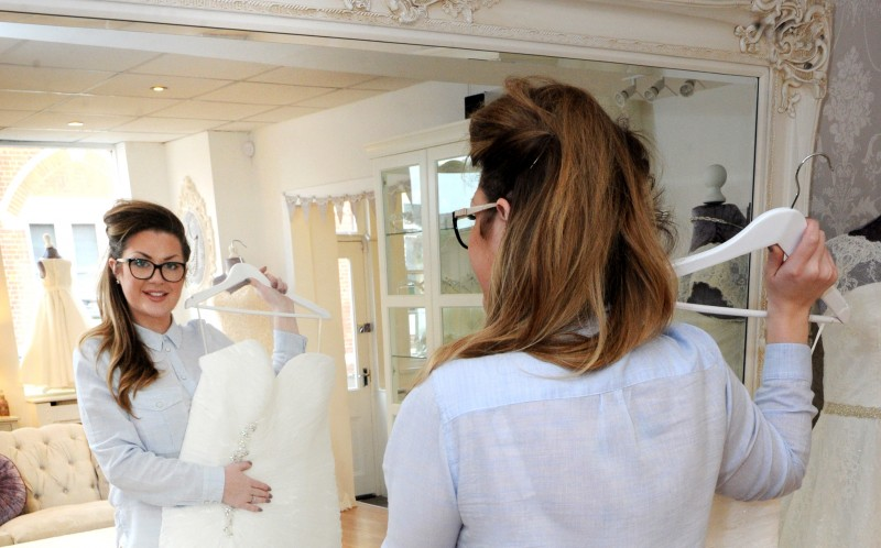 Chantelle Harris at the Bridal Shop choosing her Brides dress