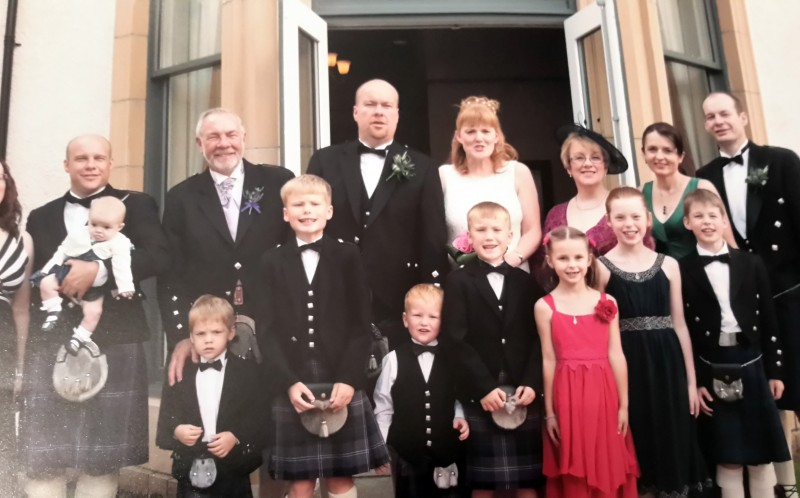 All the family at sons Stewarts wedding two years ago