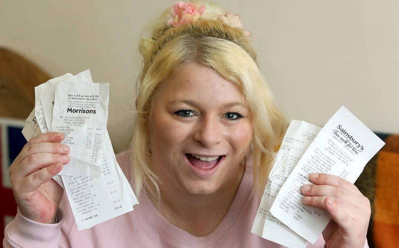 Sammy Hancock showing her receipts with the reductions on
