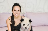 PIC FROM CATERS NEWS - (PICTURED: The adorable dogs with their owner Meng Jiang.) - Three adorable dogs have become an online hit -thanks to their unusual panda-like markings. The three Chow Chows first came to the attention of the online masses after a video of them strolling through Singapore with their owner, Meng Jiang, was posted online - with many people initially mistaking them for the endangered animals. The adorable pups - named Tudou, a male, YuMi and DouDou, both sisters  - are pure white Chow Chows, with distinct black dye added to their fur to give them an uncanny resemblance to Pandas. SEE CATERS COPY.