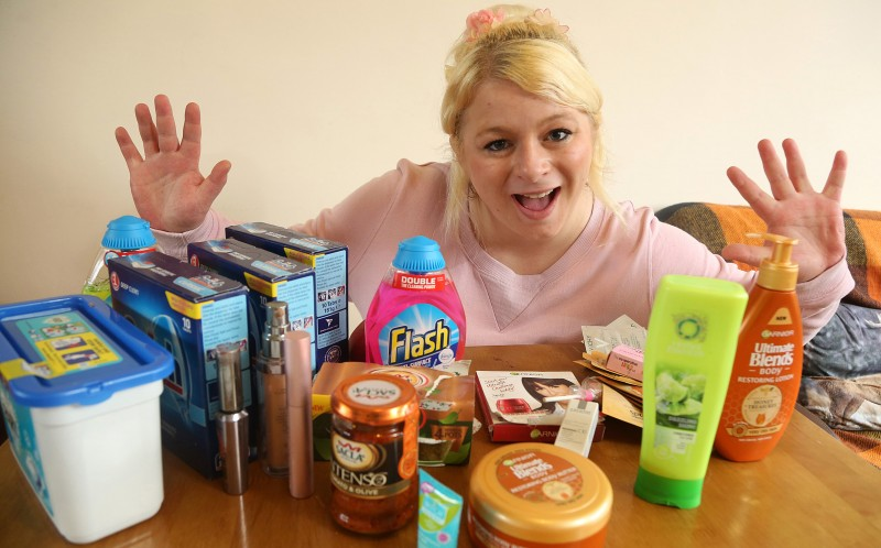 Sammy Hancock with the shopping she bought with her vouchers