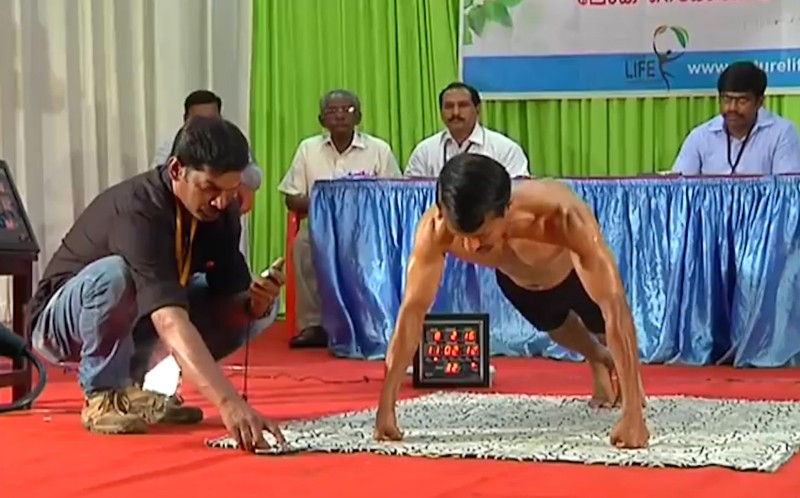 KJ Joseph, 35, doing push ups at the event