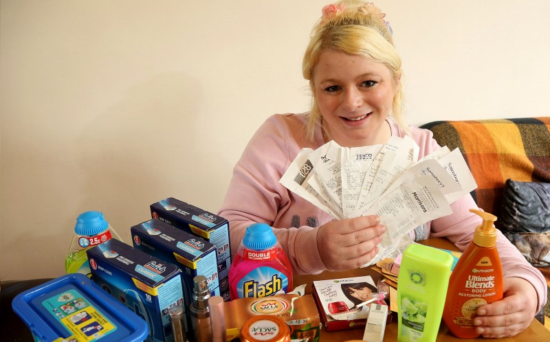 Sammy Hancock with her shopping, which she got using her vouchers