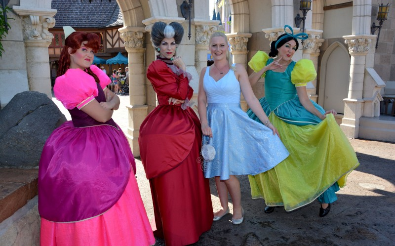 Jesse dressed as Cinderella with her Ugly sisters and Evil Step Mother