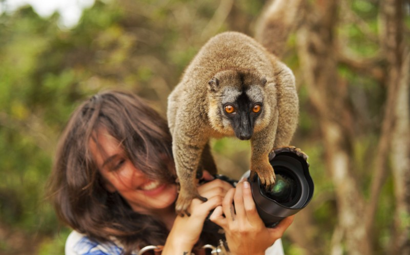 Shannon Benson with a Lemur