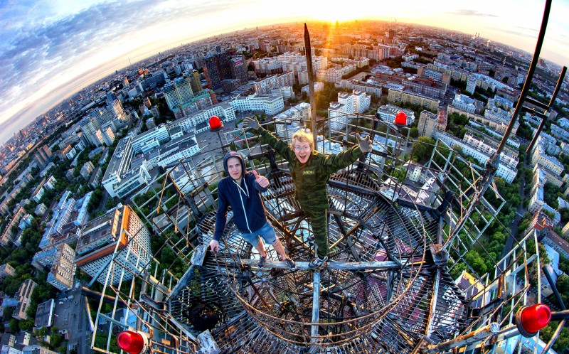 Two Russian rooftoppers over looking Moscow