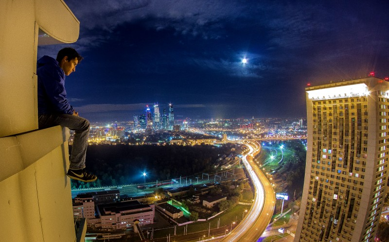 A Russian Rooftopper over looking Moscow