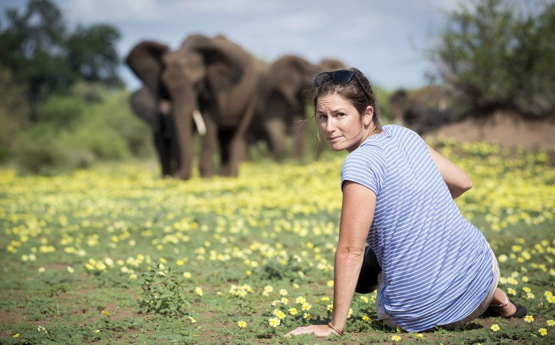 Ruth Nussbaum with some elephants