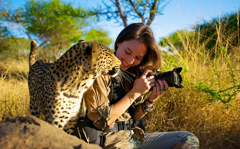 Shannon Benson with a Leopard