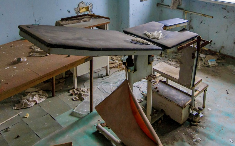 Examination table in the hospital