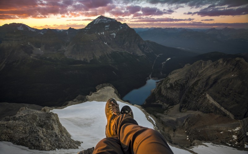 Summit of Mount Bowlen, Looking at Mount Temple and Moraine Lake, Banff/Kootenay National Parks, AB/BC, Canada