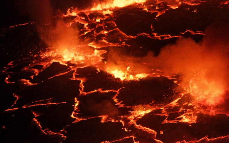 The bubbling lava