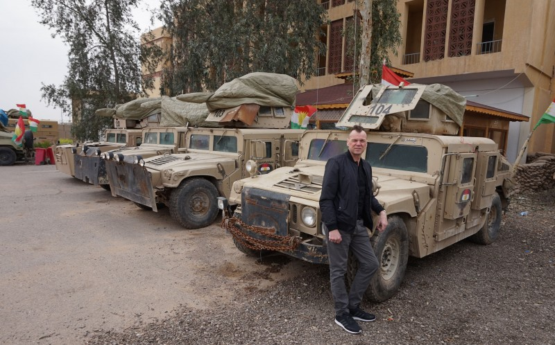 ANDREW DRURY WITH ARMOURED VEHICLES STOLEN BY PESHMERGA FROM ISIS