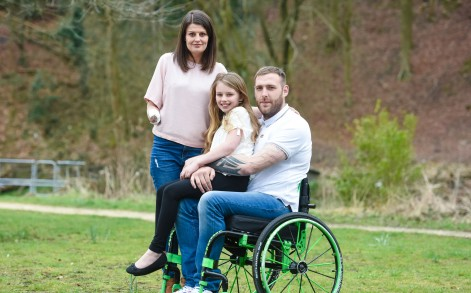 LISA HOLDEN, 31, WITH HER DAUGHTER MILLIE, 9 AND FIANCE KIRK MOUNT, 28