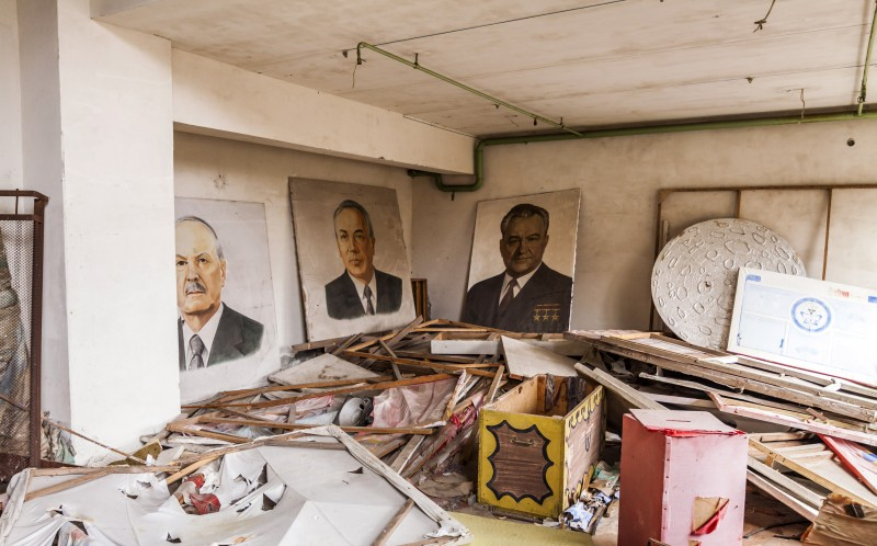 Portraits of the Communist Party leaders for parades and processions. House of Culture