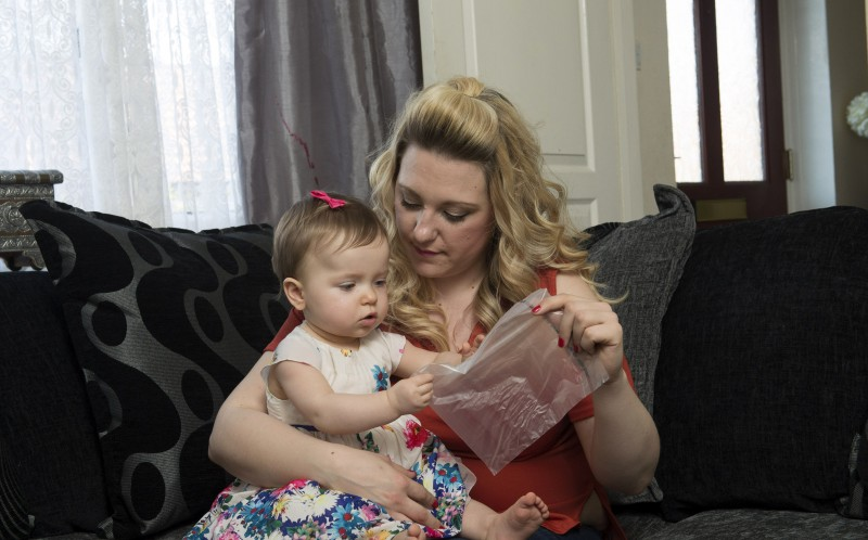 11 month old Millie Bartle from Hull, at home with mum Maria Dennison