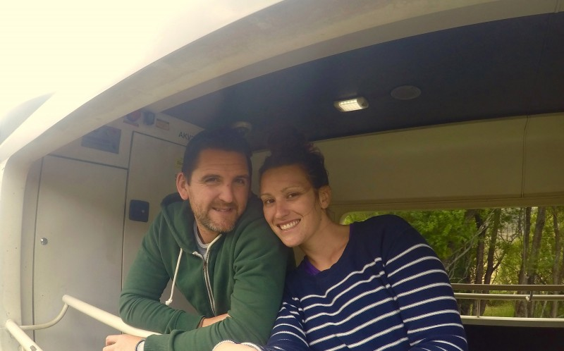 Adam and Jodie on a train ride in New Zealand