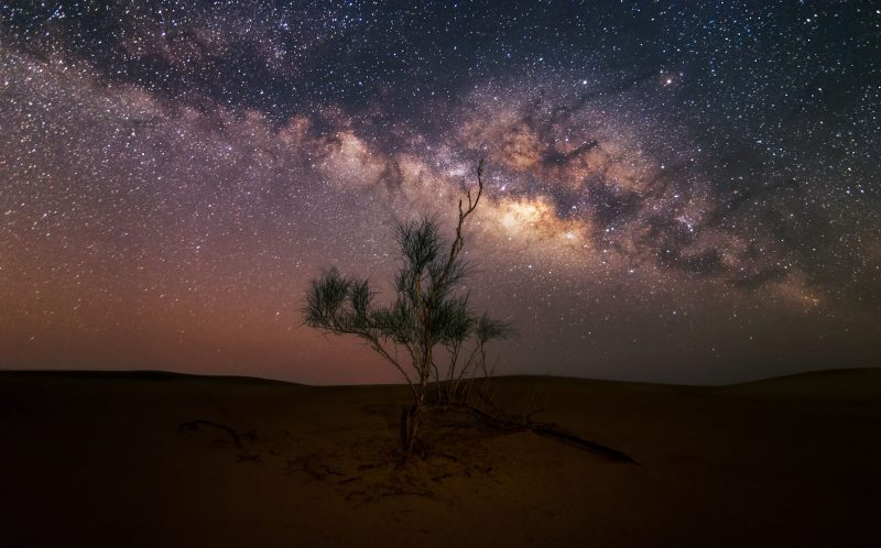 A view of the Milky Way at night in the USE desert.