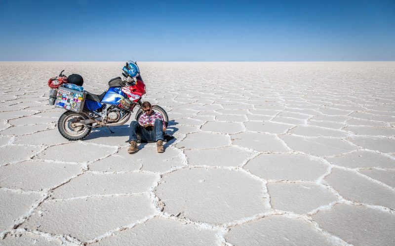 George reading at the salt lake, Uyuni, Bolivia in Octobe 2015)