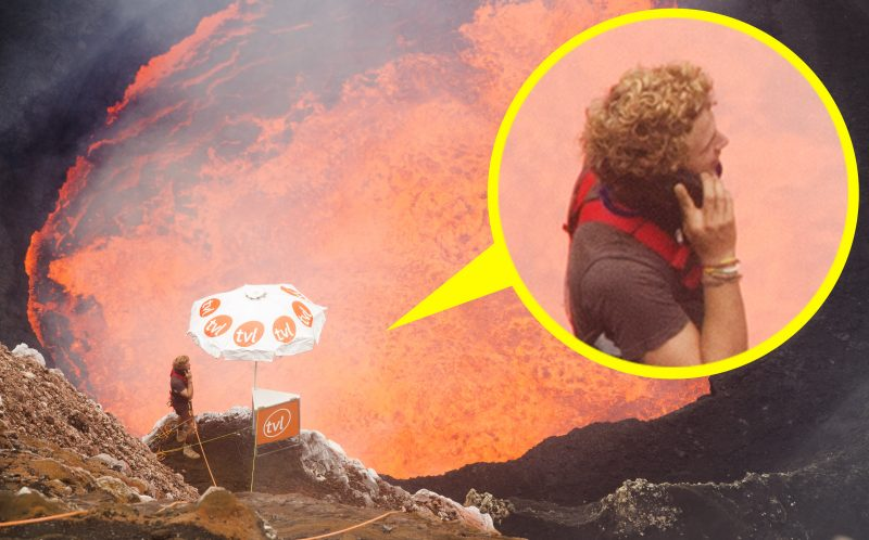 Chris Horsley was seen strolling around on a narrow edge above an active volcano.
