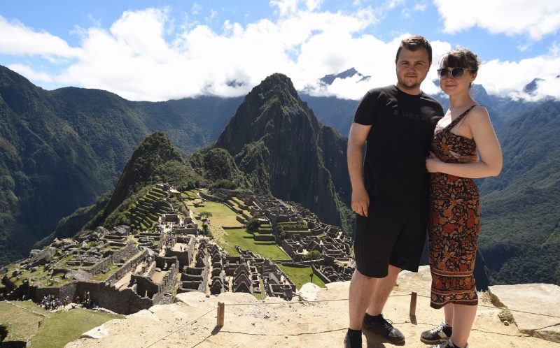 ROSE LAMBERT/CATERS NEWS - Koray and Rose at the top of Machu Picchu after they had proposed.