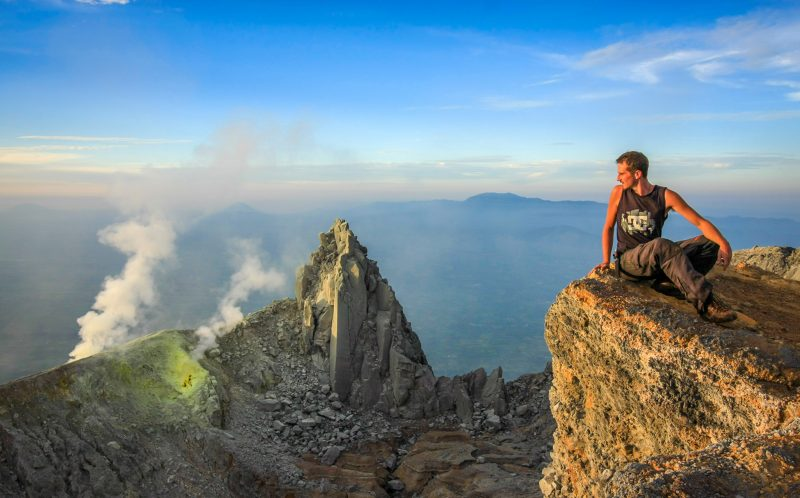George at sunrise on top of Sinabung Volcano, May 2010)