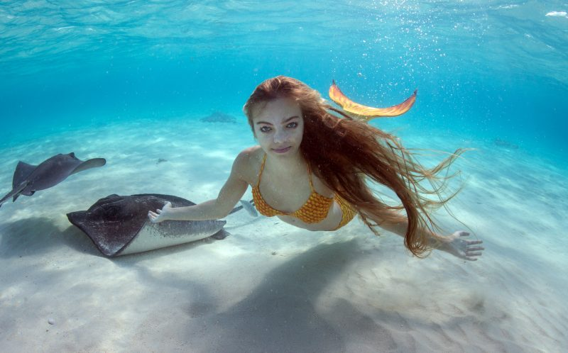 BY ELLEN CUYLAERTS/CATERS NEWS - Meet the real life Little Mermaid in her golden costume at Cayman Islands.
