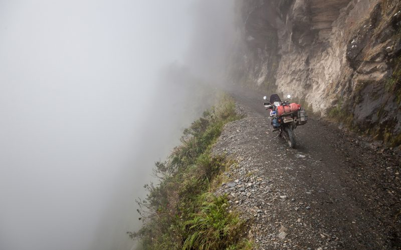 The Death Road living up to its repuation of being treacherous, Central Bolivia February)
