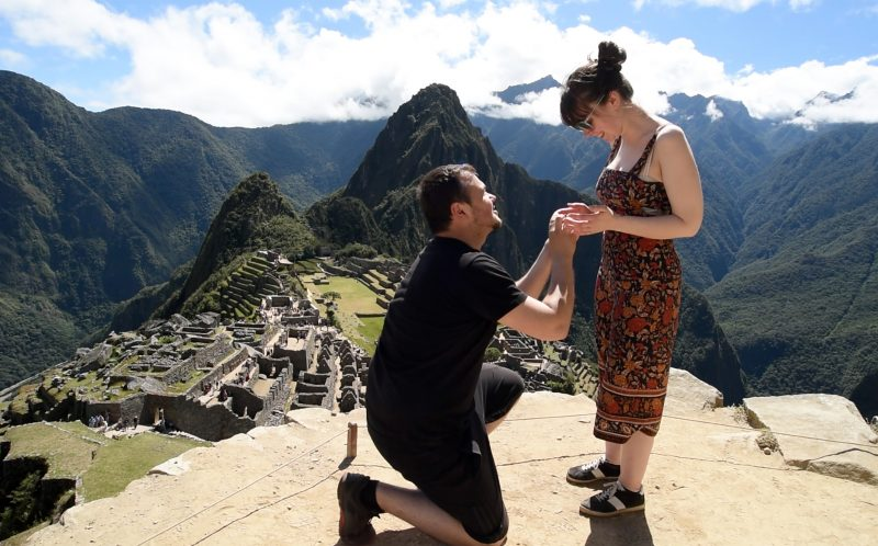 ROSE LAMBERT/CATERS NEWS - The cheeky chap photobombed the happy couples snap of world-famous Machu Picchu.