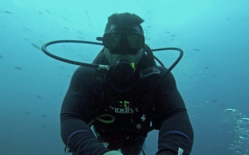 FEROZ KHALIL / CATERS NEWS - Diver Feroz Khalil performed the viral Running Man challenge while surrounded by sharks off Fiji.