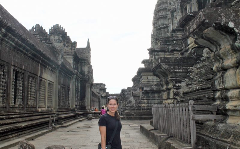 JENNIFER SULLIVAN / CATERS NEWS - Angkor Wat Temple Siem Reep, Cambodia, with Jennifer with brown hair so that people don't confuse her with the Hollywood star.