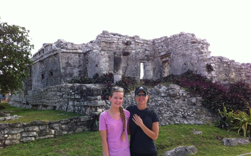 JENNIFER SULLIVAN / CATERS NEWS - Jennifer and Danielle-Skye, her daughter at Tulum Mayan Ruins, Mexico - one of her bucket list items.