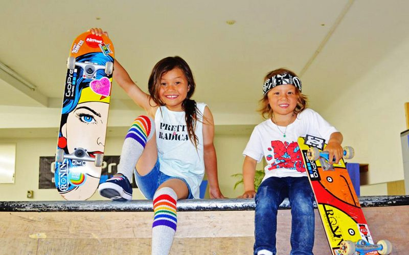 PIC FROM CATERS NEWS - (PICTURED: Sky and Ocean.) - These energetic siblings have wowed fans with their record breaking skateboard tricks. Sky Brown, 7, and Ocean Brown, 4, have been offered free flights and even appeared on TV as a result of their mind blowing skills. The pair - who have developed techniques not even the pros have mastered - have shattered records for tricks learnt by a certain age. Proud Dad Stuart Brown is now trying to keep them grounded as their popularity soars. Oceans latest video received a whopping one million hits within the first two hours of being uploaded. SEE CATERS COPY.