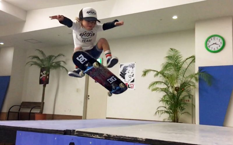 PIC FROM CATERS NEWS - (PICTURED: Ocean does a skateboarding trick. ) - These energetic siblings have wowed fans with their record breaking skateboard tricks. Sky Brown, 7, and Ocean Brown, 4, have been offered free flights and even appeared on TV as a result of their mind blowing skills. The pair - who have developed techniques not even the pros have mastered - have shattered records for tricks learnt by a certain age. Proud Dad Stuart Brown is now trying to keep them grounded as their popularity soars. Oceans latest video received a whopping one million hits within the first two hours of being uploaded. SEE CATERS COPY.