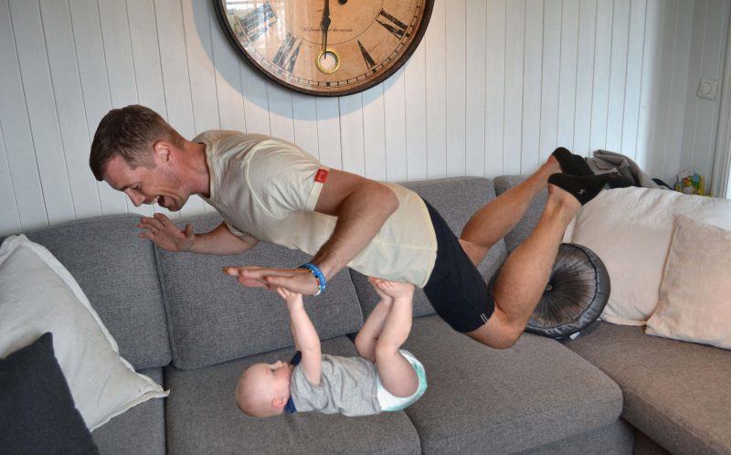 PIC FROM MERCURY PRESS: Andreas Miezans started taking the witty snaps during paternity leave after little Oscar was born last July in Tonsberg, Norway.