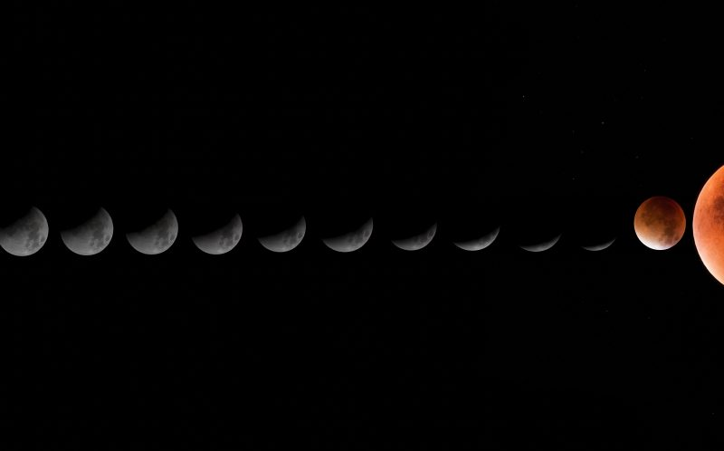 PIC BY ROGER HUTCHINSON/MEDIA DRUM WORLD/CATERS NEWS - PICTURED: Lunar Eclipse linear composite. LONDON, UK: DEFYING the light pollution of our capital city these stunning images of outer space have been taken by an amateur astronomer from his back garden in West London. Rivalling images taken by multimillion dollar spacecraft, the spectacular shots show incredible close-ups of the moon including the Apollo 15 landing site, Jupiter and Mercury. Other pictures show the International Space Station passing over London, a comet whizzing by and the moon rising high into the night sky. The awesome array of photos were taken by IT solutions architect and amateur astronomer Roger Hutchinson (49) from London. The married father-of-two captured the images from the modest observatory he has constructed with his own hands in the back garden of his home. SEE CATERS COPY.