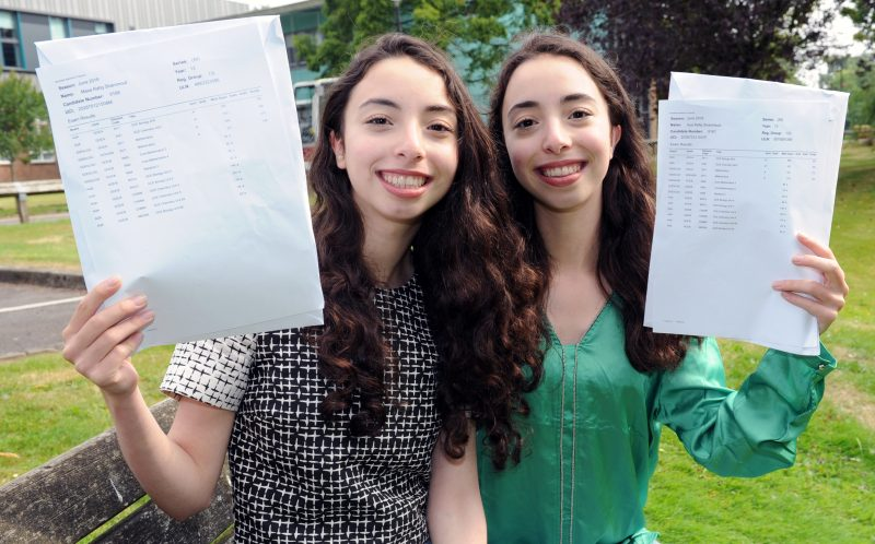 PIC BY KORAY EROL/ CATERS NEWS - (PICTURED: Masa and Aya Shannout, both 18 with their a level results) - Talk about seeing double! These identical twins have got incredible identical A Level results and now theyre off to the same uni to do IDENTICAL courses. Masa and Aya Shannout, both 18, were over-the-moon with their amazing matching results with both of them getting an A in maths and A* in biology and chemistry at Camp Hill Girls School, in Birmingham, West Mids. Now the undistinguishable due are both off to University of Birmingham in September to study dentistry. SEE CATERS COPY.